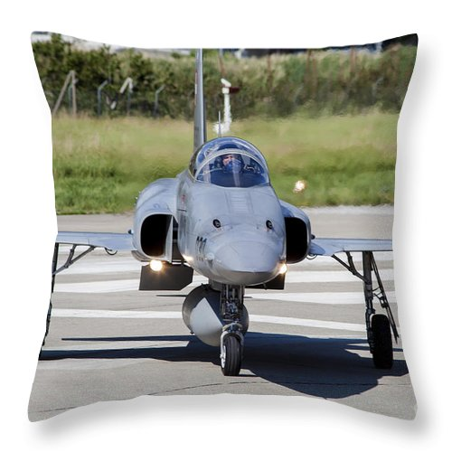 Switzerland Throw Pillow featuring the photograph Swiss Air Force F-5e Tiger Recovering by Timm Ziegenthaler