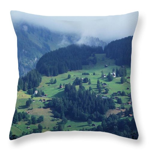 Switzerland Throw Pillow featuring the photograph Swiss Mountain Village by David Broome