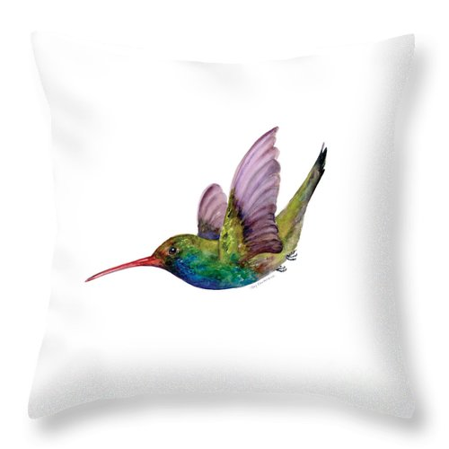 Bird Throw Pillow featuring the painting Swooping Broad Billed Hummingbird by Amy Kirkpatrick