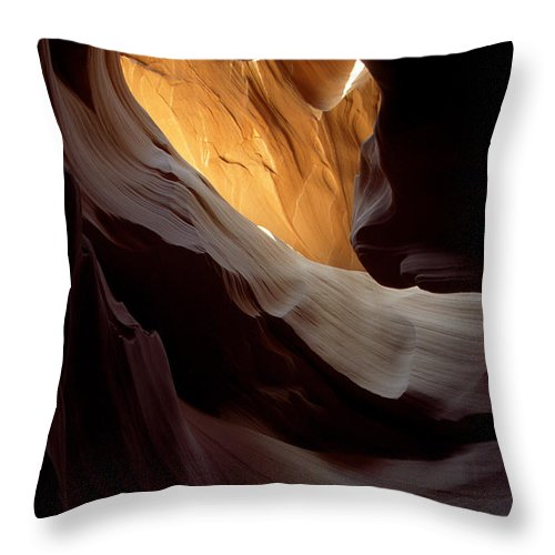 Slot Canyons Throw Pillow featuring the photograph Swopes by Kathy McClure