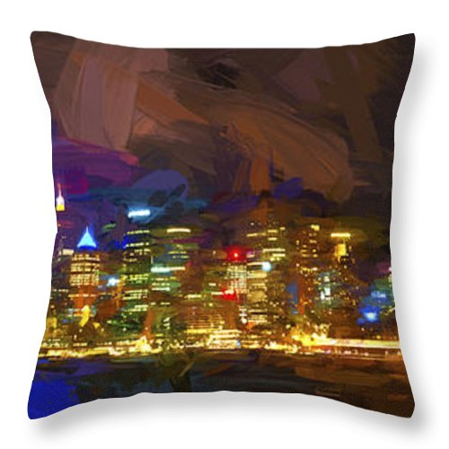 Sydney Harbour Throw Pillow featuring the photograph Sydney Harbour At Night by Sheila Smart Fine Art Photography