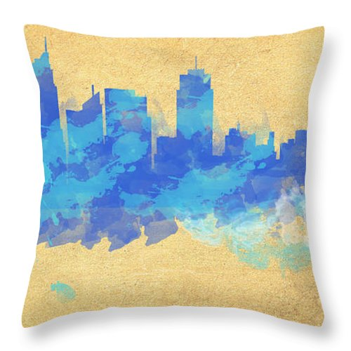 Wright Throw Pillow featuring the digital art Sydney In Blue by Paulette B Wright