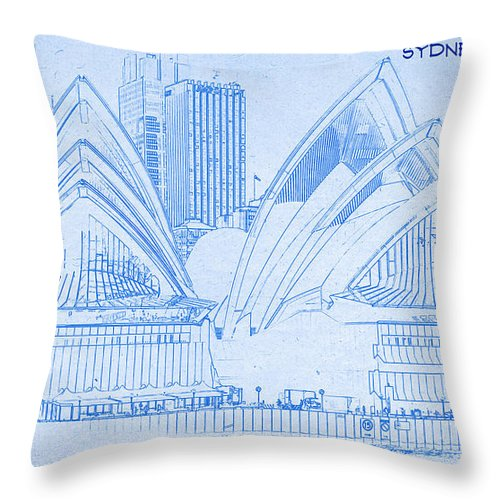 sydney opera house blueprint drawing throw pillow for sale by