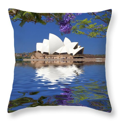 Sydney Opera House Throw Pillow featuring the photograph Sydney Opera House with jacaranda reflection by Sheila Smart Fine Art Photography