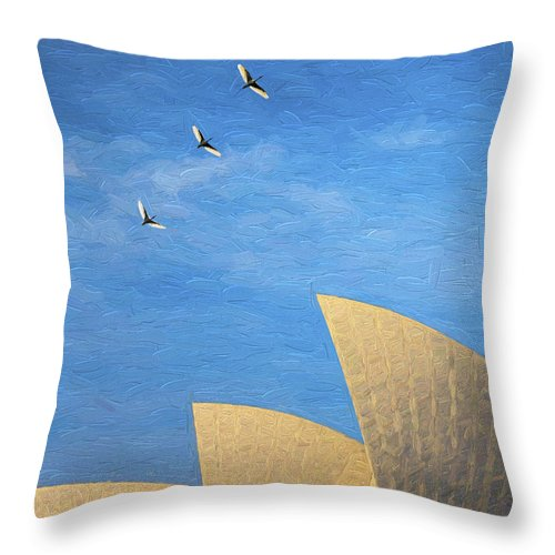 Sydney Opera House Throw Pillow featuring the photograph Sydney Opera House with sacred ibis by Sheila Smart Fine Art Photography