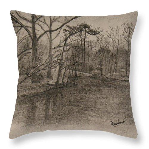 Sylvan Lake Throw Pillow featuring the painting Sylvan Lake Plein Aire by Sheila Mashaw
