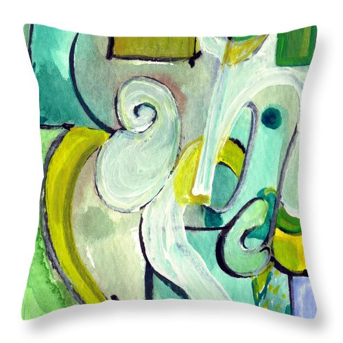 Abstract Art Throw Pillow featuring the painting Symphony In Green by Stephen Lucas
