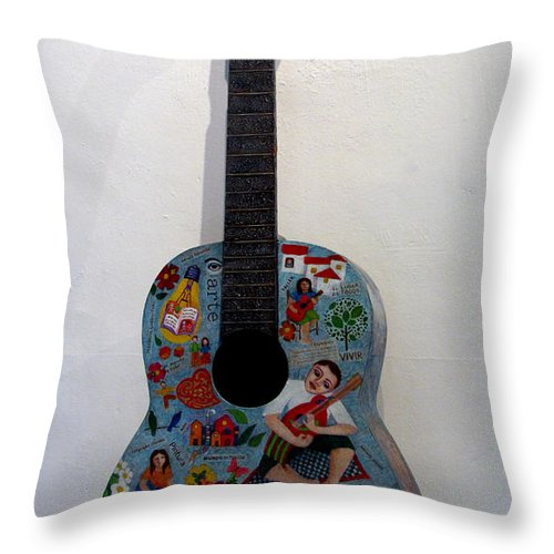 Guitar Throw Pillow featuring the painting Symphony Of Colors by Madalena Lobao-Tello