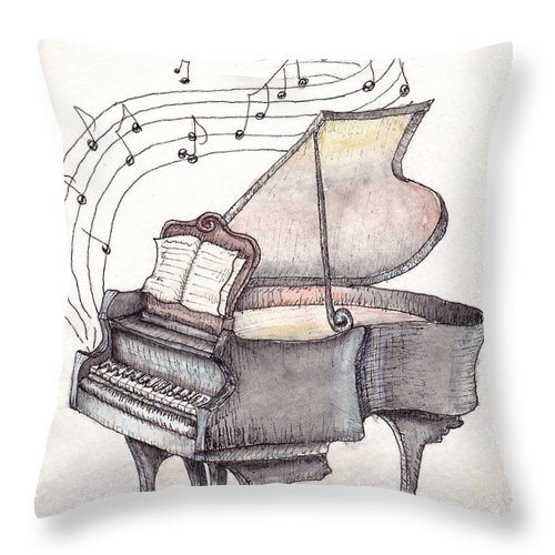 Piano Throw Pillow featuring the painting Symphony by Theresa Stinnett
