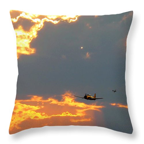 Aircraft Throw Pillow featuring the photograph T-28 Trojan Fighter Plane by Amy McDaniel