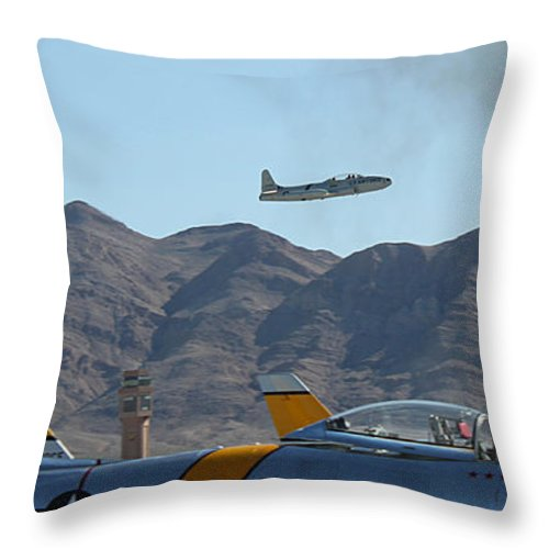 T33 Throw Pillow featuring the photograph T-33 Shooting Star Flight Over Two Sabre's by Carl Deaville
