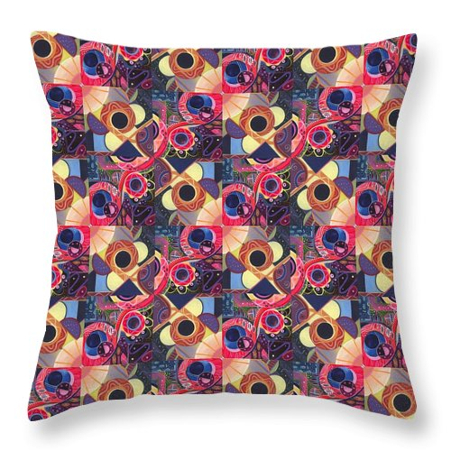 Abstract Throw Pillow featuring the painting T J O D Tile Variations 13 by Helena Tiainen