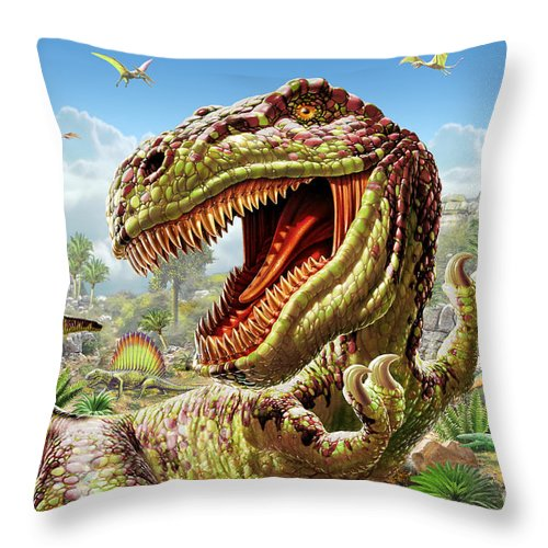 Adrian Chesterman Throw Pillow featuring the digital art T-rex And Dinosaurs by MGL Meiklejohn Graphics Licensing