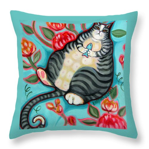 Rebecca Korpita Throw Pillow featuring the painting Tabby Cat On A Cushion by Rebecca Korpita