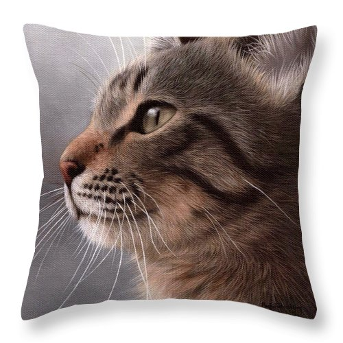 Cat Throw Pillow featuring the painting Tabby Cat Painting by Rachel Stribbling