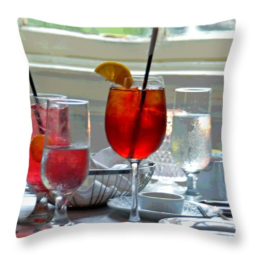Glass Throw Pillow featuring the photograph Table By The Window by Suzanne Gaff
