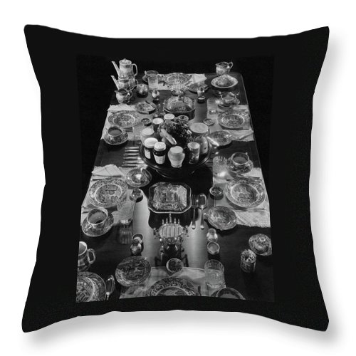 Interior Throw Pillow featuring the photograph Table Settings On Dining Table by The 3
