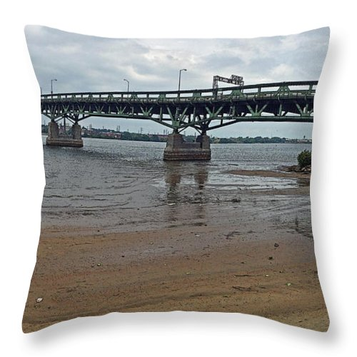 Connecting Throw Pillow featuring the photograph Tacony Palmyra Bridge by Tom Gari Gallery-Three-Photography