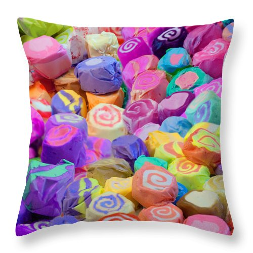 Alixandra Mullins Throw Pillow featuring the digital art Taffy Candyland by Alixandra Mullins