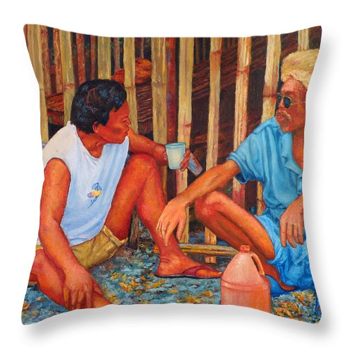 Tagay Throw Pillow featuring the painting Tagay by Michael Jadach