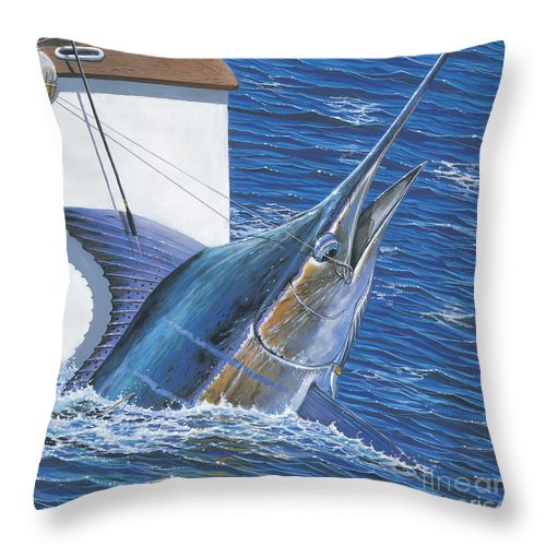 Marlin Throw Pillow featuring the painting Tagged Off00105 by Carey Chen