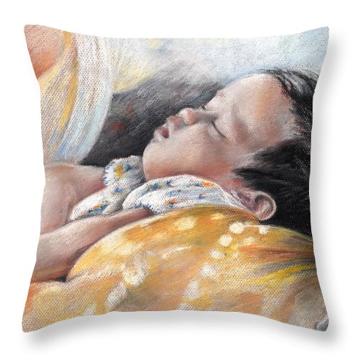 Travel Throw Pillow featuring the painting Tahitian Baby by Miki De Goodaboom