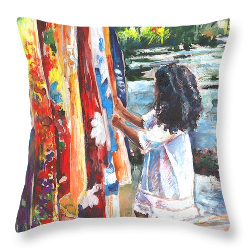 Travel Throw Pillow featuring the painting Tahitian Girl with Pareos by Miki De Goodaboom