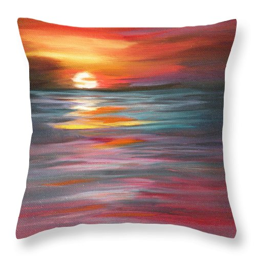Sunset Throw Pillow featuring the painting Tahitian Sunset by Lora Duguay