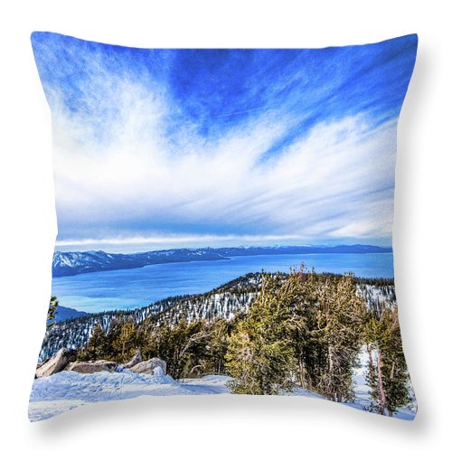 Scenics Throw Pillow featuring the photograph Tahoe From Heavenly by Peter Stasiewicz