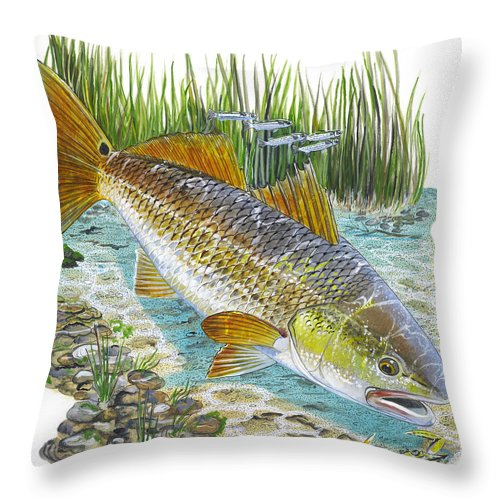 Redfish Throw Pillow featuring the painting Tailing Red by Carey Chen