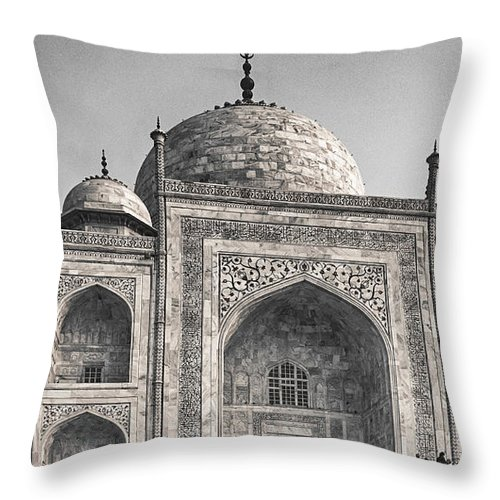 India Throw Pillow featuring the photograph Taj Dressed In White by Scott Wyatt