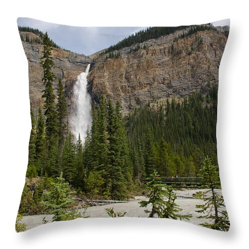 Daly Glacier Throw Pillow featuring the photograph Takakkaw Falls by Ralf Broskvar