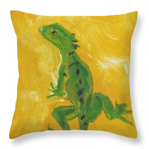 Lizard Throw Pillow featuring the mixed media Take Five by Cori Solomon