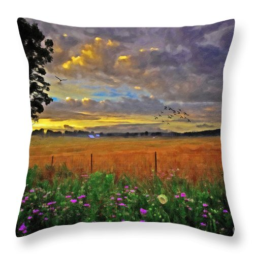 Country Road Throw Pillow featuring the digital art Take Me Home by Lianne Schneider