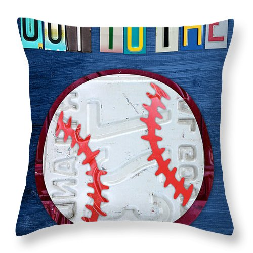 License Plate Map Throw Pillow featuring the mixed media Take Me Out To The Ballgame License Plate Art Lettering Vintage Recycled Sign by Design Turnpike