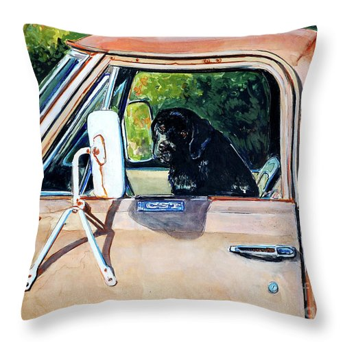 Black Labrador Retriever Throw Pillow featuring the painting Take Me With You by Molly Poole