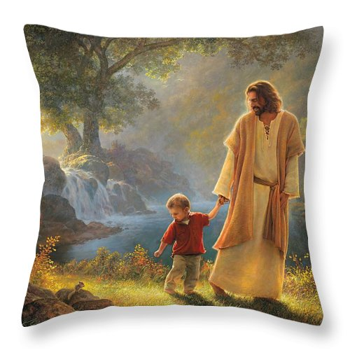 Jesus Throw Pillow featuring the painting Take My Hand by Greg Olsen