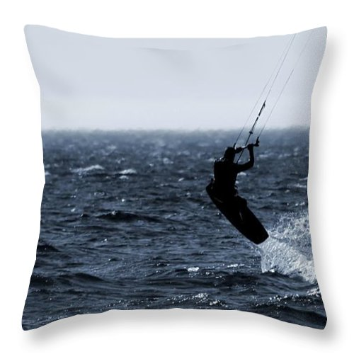 Kitesurfing Lake Michigan Throw Pillow featuring the photograph Take Off by Dan Sproul