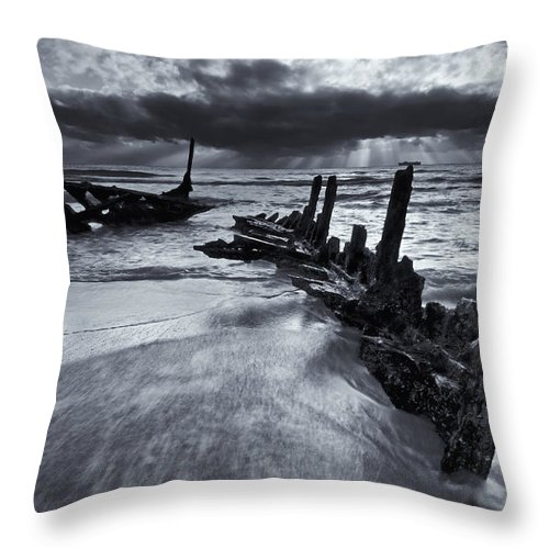 Shipwreck Throw Pillow featuring the photograph Taken By The Sea by Mike Dawson