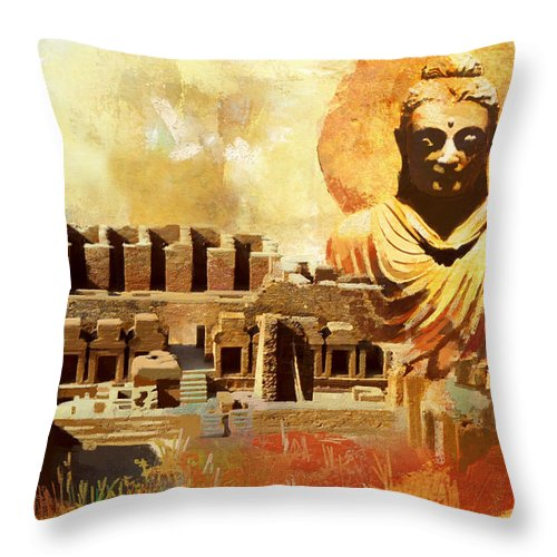 Pakistan Throw Pillow featuring the painting Takhat Bahi Unesco World Heritage Site by Catf