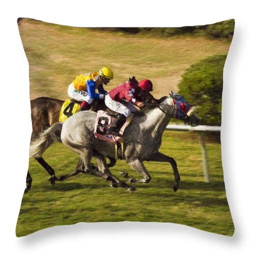 Del Mar Throw Pillow featuring the painting Taking Over - Del Mar Horse Race by Angela Stanton