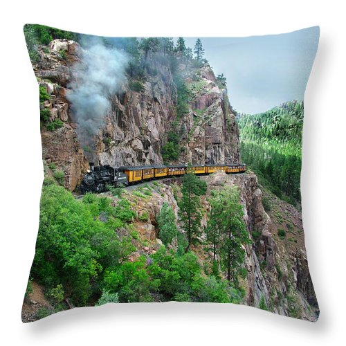 Steam Train Throw Pillow featuring the photograph Taking The Highline Home by Ken Smith