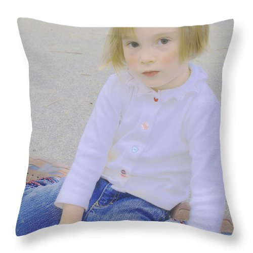 Girl Throw Pillow featuring the photograph Tali And Chalk by Andy Mars