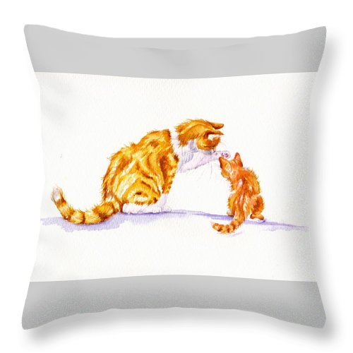 Cats Throw Pillow featuring the painting Talk To The Paw by Debra Hall