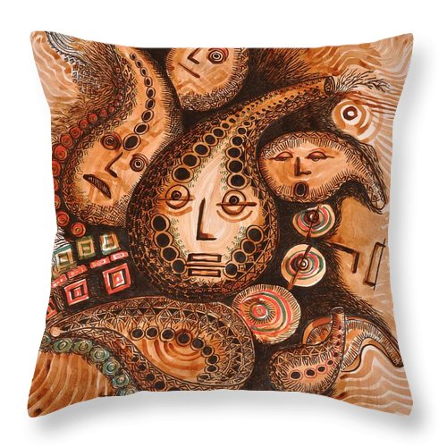 African Gourds Throw Pillow featuring the drawing Talking Gourds  by Julius Sakwa