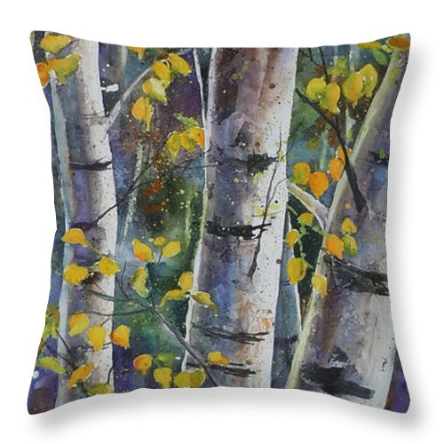 Aspen Throw Pillow featuring the painting Tall Aspens by Renee Chastant