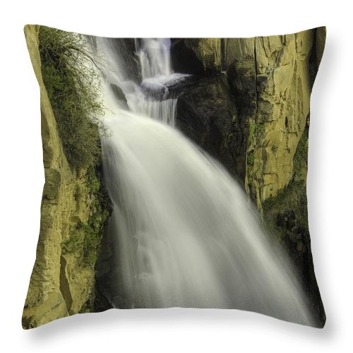 Waterfalls Throw Pillow featuring the photograph Tall Canyon Waterfalls by Bill Sherrell