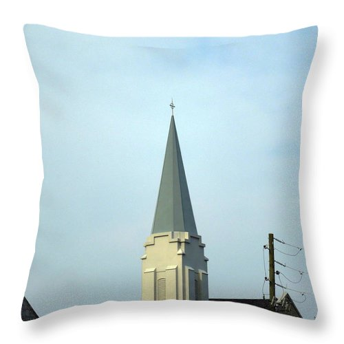 Church Throw Pillow featuring the photograph Tall Church Steeple by Renee Trenholm