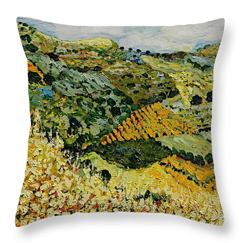 Landscape Throw Pillow featuring the painting Tall Grass by Allan P Friedlander