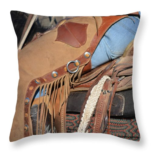 Drover Throw Pillow featuring the photograph Tall In The Saddle II by Gale Cochran-Smith